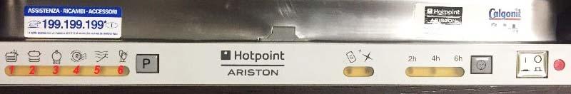 Панель управления встроенной ПММ Ariston с 6-ю светодиодами