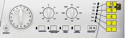 Индикация кода ошибки стиральных машин Ariston светодиодами: платформа Arcadia