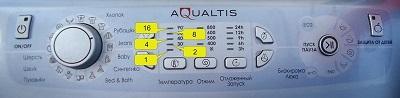 Индикация кода ошибки стиральных машин Ariston светодиодами: линейка Aqualtis